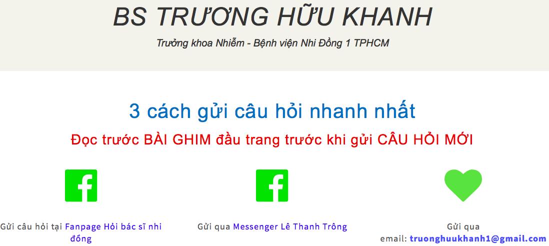 Bác sĩ Trương Hữu Khanh - Hỏi bác sĩ nhi đồng