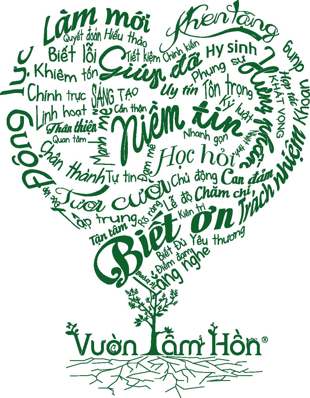 Cây Vườn Tâm Hồn 50 phẩm chất hình trái tim