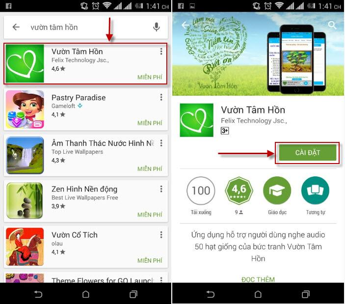 Cài ứng dụng Vườn tâm hồn về smartphone