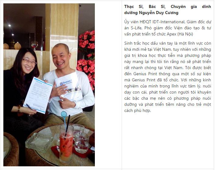 Genius Print - Cảm nhận của Anh Nguyễn Duy Cương về sinh trắc vân tay