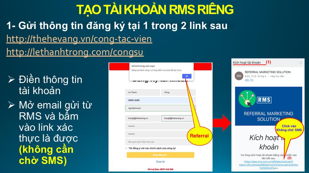 Đăng ký tài khoản tiếp thị liên kết trên RMS