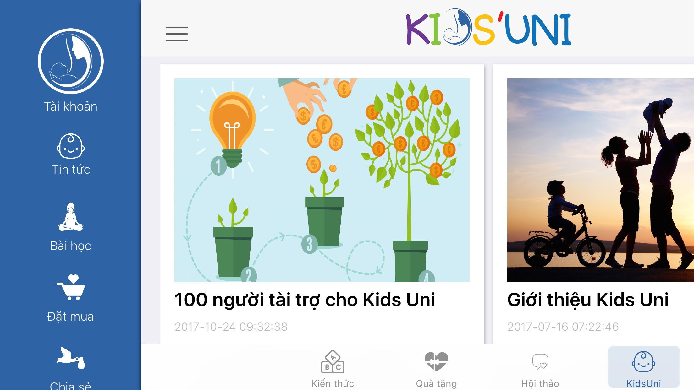 Ứng dụng KidsUni trên martphone