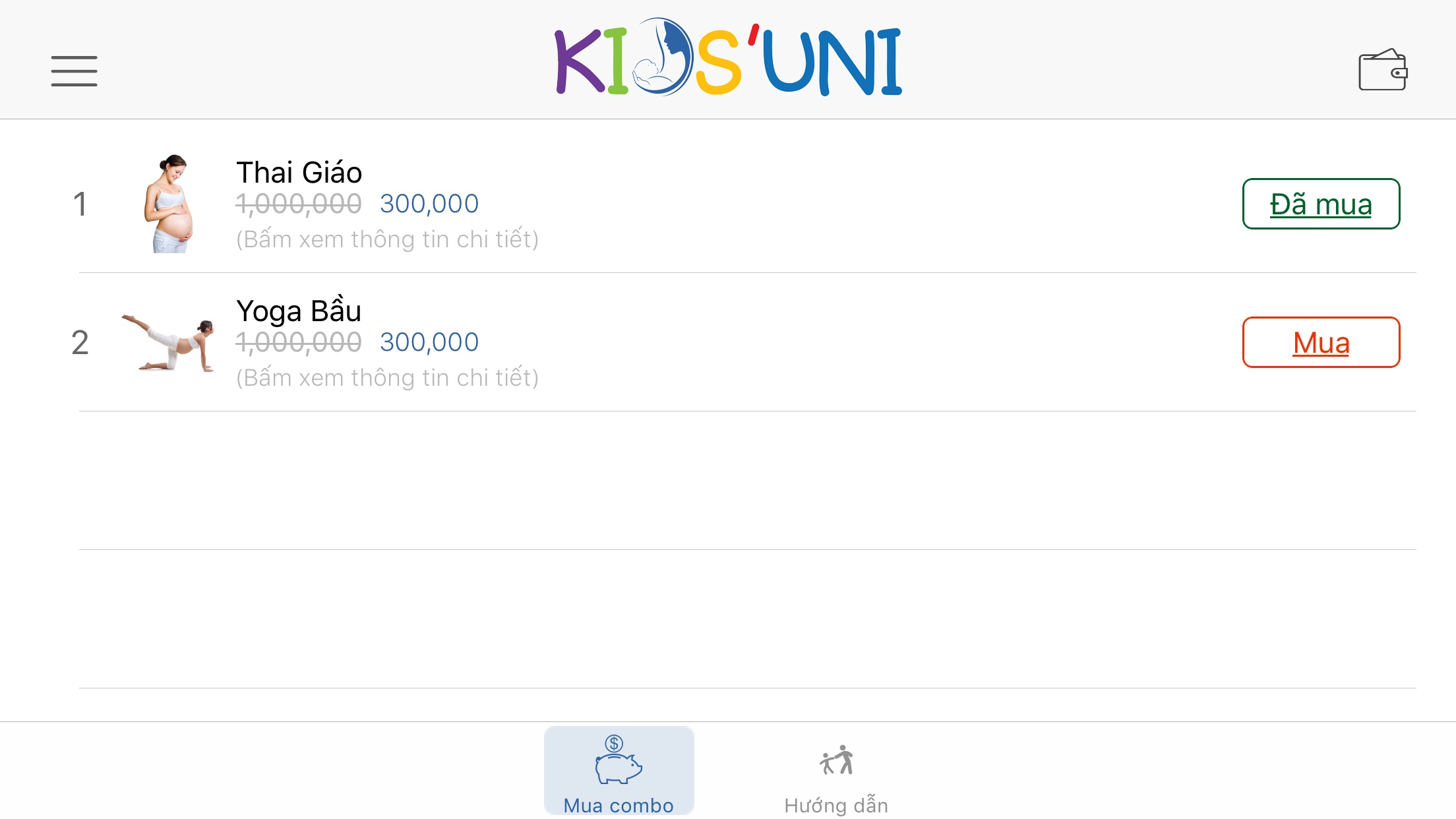 Kích hoạt khoá học tại ứng dụng Kids Uni