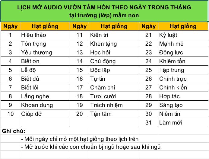 Lịch mở audio Vườn Tâm Hồn gieo trồng nhân cách